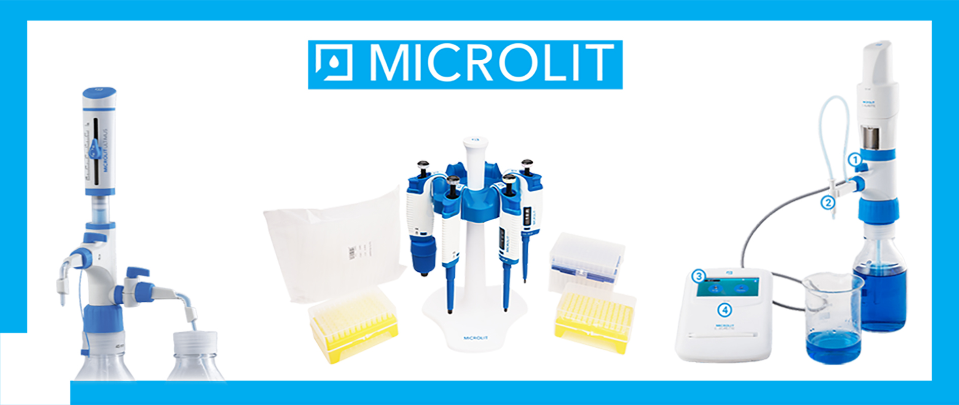 Micropipettes, Bottle Top Dispensers, Electronic Pipette Filling Device, E-burette, Pipette stands and tips.